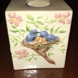 Hand-painted Bluebird and Flowers Tissue Box
